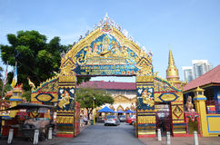 Entrata di Wat Chaiyamangalaram Temple a Penang Fotografia Stock Libera da Diritti