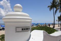 Entrata e segno alla spiaggia di Riomar Fotografie Stock Libere da Diritti