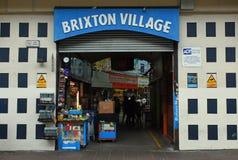 Entrata e segno, Brixton Village, Londra del sud, Inghilterra fotografia stock
