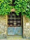 Entrata Gated per lapidare costruzione con il fogliame sporgentesi Immagini Stock Libere da Diritti