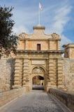 Entrata a Mdina, Malta Immagini Stock