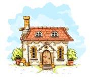 Entrata nella vecchia casa di fiaba con il tetto di mattonelle Fotografie Stock