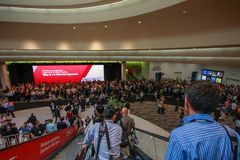 Entrata principale alla conferenza di Oracle OpenWorld nel centro di convenzione di Moscone Fotografie Stock