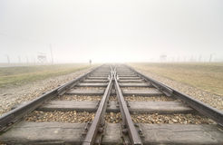Entrata principale a Auschwitz Birkenau Immagini Stock Libere da Diritti
