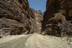 Entrata a Wadi Lajab nella provincia di Jizan, Arabia Saudita immagini stock