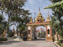 Entrata a Wat That Luan, Vientiane immagine stock