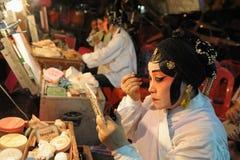 Entre bastidores en el teatro chino Fotos de archivo libres de regalías