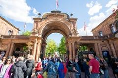 Entrée de jardins de Tivoli, Copenhague Photographie stock