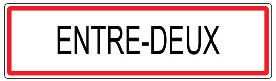 Entre Deux city traffic sign illustration in France Royalty Free Stock Photos