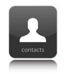 Entre en contact avec l'icône sur l'icône brillante noire illustration stock
