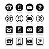 Entre en contacto con el círculo del iconsin y ajuste el sistema - el móvil, llama por teléfono, envía por correo electrónico, sob ilustración del vector