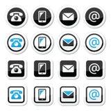 Entre en contacto con las etiquetas en círculo y ajuste el sistema - el móvil, llama por teléfono, envía por correo electrónico,  stock de ilustración