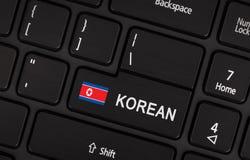 Entre en el botón con la bandera Corea del Norte - concepto de lengua Imágenes de archivo libres de regalías