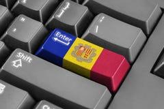 Entre en el botón con la bandera de Andorra Imagenes de archivo