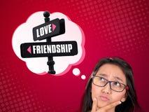 Entre l'amour et l'amitié Photos libres de droits