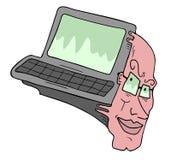 Entre l'ordinateur et l'homme imaginatif Photos stock