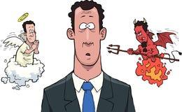 Entre los ángeles y los demonios stock de ilustración