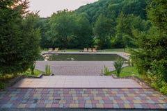 Entre los pasos verdes de los árboles de las escaleras que llevan abajo a la piscina con los ociosos de madera del sol Imagen de archivo libre de regalías