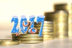 2017 entre moedas das barras Fotografia de Stock