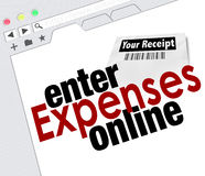 Entre no Web site em linha do reembolso dos recibos do relatório da despesa Fotos de Stock