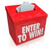 Entre para ganar boletos rojos de los impresos de candidatura de la caja de la lotería de la rifa Imagenes de archivo