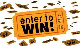 Entre para ganhar as palavras do bilhete de loteria da rifa da competição afortunadas Imagens de Stock