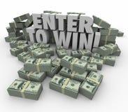 Entre para ganhar a loteria da rifa da competição das pilhas do dinheiro do dinheiro das palavras 3d Fotografia de Stock Royalty Free