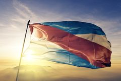 Entre Rios province of Argentina flag textile cloth fabric waving on the top sunrise mist fog. Beautiful royalty free stock images
