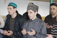 Entreaty to God. Prayer of moslems in throw mountain settlement Shulani (Dagestan. Russia Royalty Free Stock Images