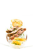 Entrecote with chips in vertical format Stock Image