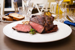 Entrecote with grilled garlic Stock Image