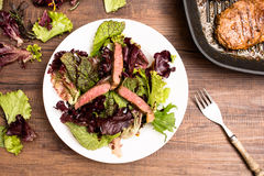 Entrecote in stripes with lettuce Royalty Free Stock Images