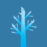Entrega a árvore - ilustração com trabalhos de equipa Fotografia de Stock Royalty Free