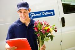 Entrega: Apronte para entregar flores fotografia de stock