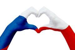 Entrega a bandeira da república checa, dão forma a um coração Conceito do símbolo do país, isolado no branco ilustração stock