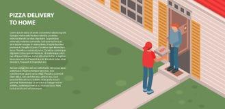 Entrega da pizza para dirigir a bandeira, estilo isométrico ilustração stock