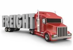 Entrega de acarreo de la mercancía de los productos de las mercancías del camión rojo de la carga ilustración del vector