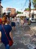 Entrega de la calle Bucarest 2015, cuando se invita al arte, los artistis, los trabajos manuales y muchas otras cosas frescas que Imagen de archivo