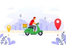 Entrega de la comida Fuente expresa del mensajero, portador en la vespa de la carga y ejemplo del vector de la ruta de la caja de ilustración del vector