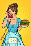 Entrega de la hamburguesa Servicio de hotel Camarera ilustración del vector