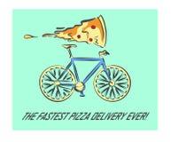 Entrega de la pizza en un ejemplo de la bicicleta Fotos de archivo