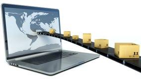 Entrega de los paquetes a través de una pantalla del ordenador portátil ilustración 3D Fotos de archivo