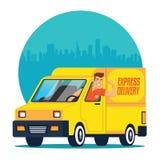 Entrega del camión con el conductor imágenes de archivo libres de regalías