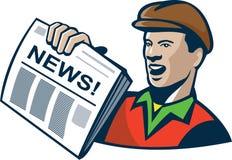 Entrega del periódico del vendedor de periódicos retra Foto de archivo
