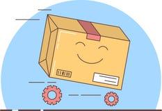 Entrega del regalo, caja llena que compite con adelante, vector ilustración del vector