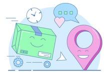 Entrega del regalo, caja llena y símbolo del geolocation ilustración del vector