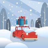 Entrega del regalo El coche pasa a través del bosque del invierno stock de ilustración
