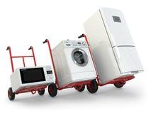 Entrega do dispositivo Caminhão de mão, refrigerador, máquina de lavar e micr Fotografia de Stock Royalty Free