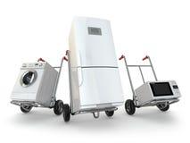 Entrega do dispositivo Caminhão de mão, refrigerador, máquina de lavar e micr Fotografia de Stock