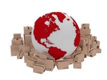 Entrega do mundo, ilustração do ícone do globo e arround da caixa 3d rendem Imagens de Stock Royalty Free